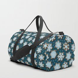 Frosted Gingerbread on Winter Night Sky Duffle Bag