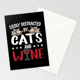 Easily Distracted By Cats And Wine Drinking Kitty Stationery Cards