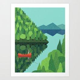 Fishing from a canoe Art Print