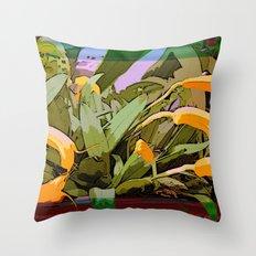 Orchids Tangerine Throw Pillow