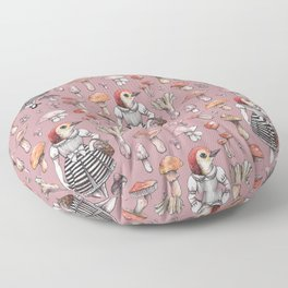 Mushroom Pickers - Lady Woodpecker Floor Pillow