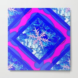 Icy Blue Frozen Snowflake Abstract Metal Print