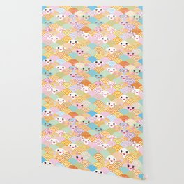 seamless pattern Kawaii with pink cheeks and winking eyes with japanese sakura flower Wallpaper