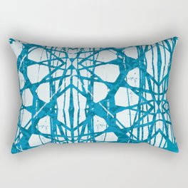 Blue and White Batik  Rectangular Pillow