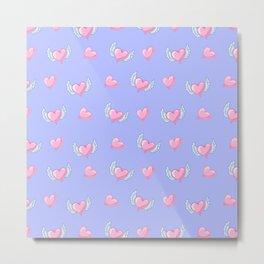 Romantic lavender blush pink love hearts valentine's Metal Print