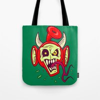evil dead Tote Bags featuring Evil Dead Po by Artistic Dyslexia