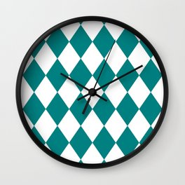 Diamonds (Teal/White) Wall Clock