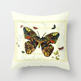 Colorful Butterfly Collage Throw Pillow