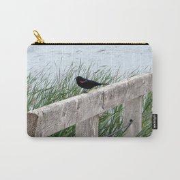 Blackbird on Boardwalk   Bird and Water Landscape   Canada Carry-All Pouch