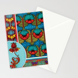 Crown Imperial Art Nouveau Flower Tiles Stationery Cards