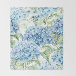 Blue Hydrangea Throw Blanket