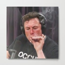 Elon Musk Smoking Weed Metal Print