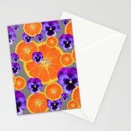 ORANGE SLICES & PURPLE PANSIES MODERN ART Stationery Cards