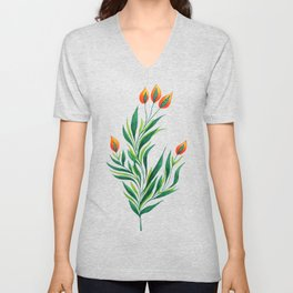 Abstract Green Plant With Orange Buds Unisex V-Neck