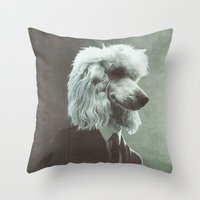 poodle Throw Pillows featuring Poodle by womoomow