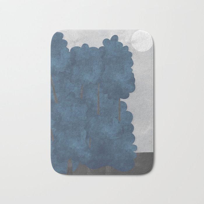 Blue trees Bath Mat
