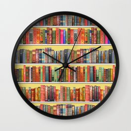 Christmas books antique vintage library Wall Clock