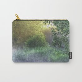 Landscape photograph of a foggy morning on a pond with light starting to break through. Carry-All Pouch
