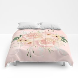 Wild Roses on Seashell Pink Watercolor Comforters