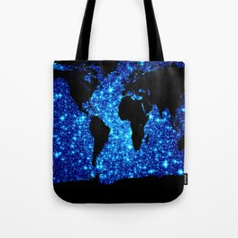 world MAP Blue Galaxy Stars Tote Bag