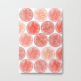 Polka Grapefruit Metal Print