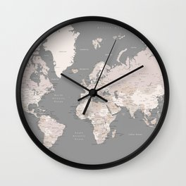 """World map in taupe and brown, """"Fabrizio"""" Wall Clock"""