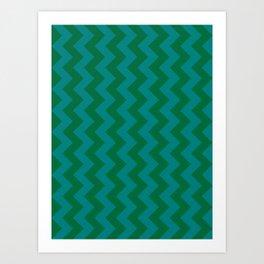Teal Green and Cadmium Green Vertical Zigzags Art Print