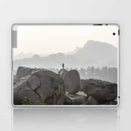 A Silhouette in the Monochromatic Boulders of India Laptop & iPad Skin