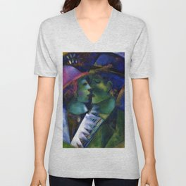 Green Lovers by Marc Chagall Unisex V-Neck