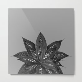 Gray Black Agave with Black Silver Glitter #3 #shiny #tropical #decor #art #society6 Metal Print