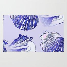 Seashells Beach Pattern Blue Rug