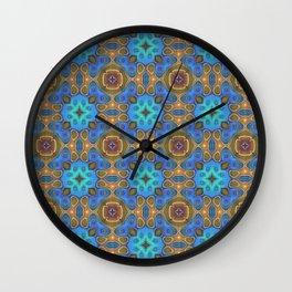 Cute Colorful Retro Art Nouveau Mosaic Pattern Wall Clock