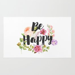 Be happy Inspirational Quote Rug