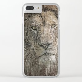 Lion Portrait Clear iPhone Case