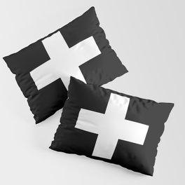 Swiss Cross Black and White Scandinavian Design for minimalism home room wall decor art apartment Pillow Sham