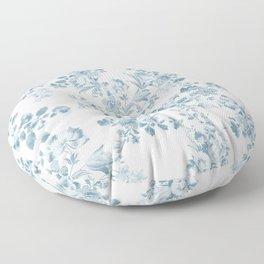 Vintage blue white bohemian elegant floral Floor Pillow