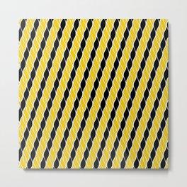 Golden Yellow and Black Stripes Metal Print