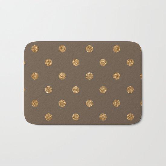 Brown Gold Glitter Dots Bath Mat