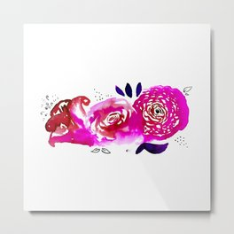 Three Purple Christchurch Roses Metal Print