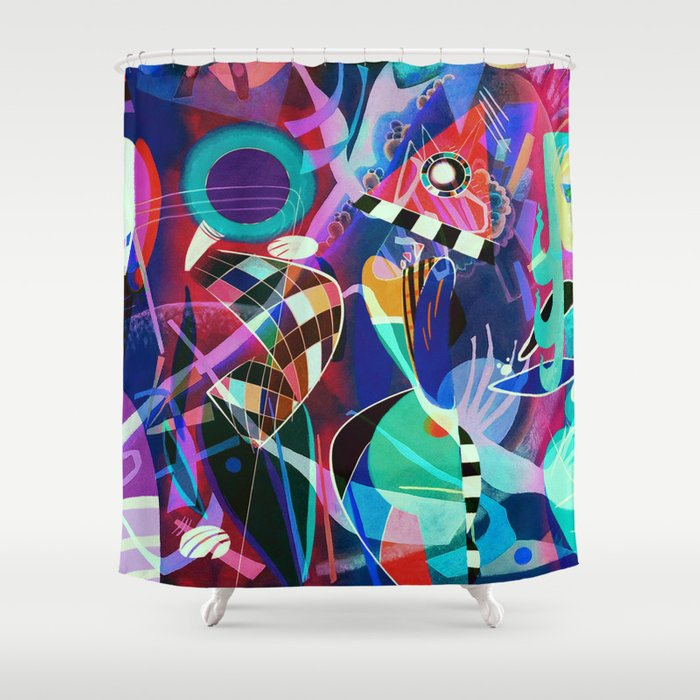 Night Life Wassily Kandinsky Inspired Geometric Abstract Art Shower Curtain