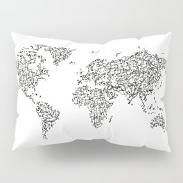 Kanji Calligraphy World Map Pillow Sham