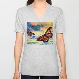 Flying Monarch Butterflies Unisex V-Neck