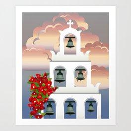 Island Santorini sunset White belfry with bougainvillea from Greece Art Print