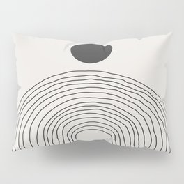 Abstract Circle and Lines in Black on Cream Pillow Sham