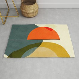 mid century geometric modern painting abstract II Rug