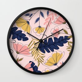 Pink and Blue Flowers Pattern Wall Clock