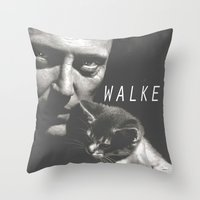 christopher walken Throw Pillows featuring Christopher Walken / Cat by Earl of Grey