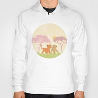 lions Hoodies featuring two lions..  by studiomarshallarts