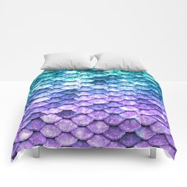Mermaid Ombre Sparkle Teal Blue Purple Comforters