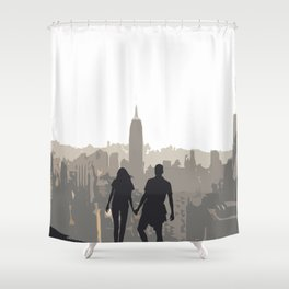 The Couple Overlooking the New York City Skyline and the Empire State Building Shower Curtain